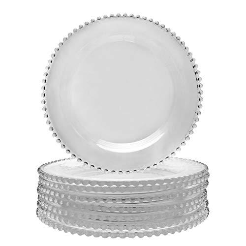 Glass Dinner Plate Set, 8 Piece, D26.5cm - Bella Perle Glass Tableware