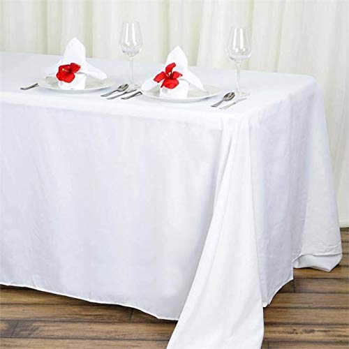 BalsaCircle 90x132-Inch White Rectangle Polyester Tablecloth Table Cover Linens for Wedding Party Events Kitchen Dining
