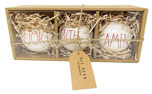 Rae Dunn by Magenta Set of 3 Rejoice & Faith & Amen Ceramic LL Red Letter Round Bulb Christmas Tree Ornaments