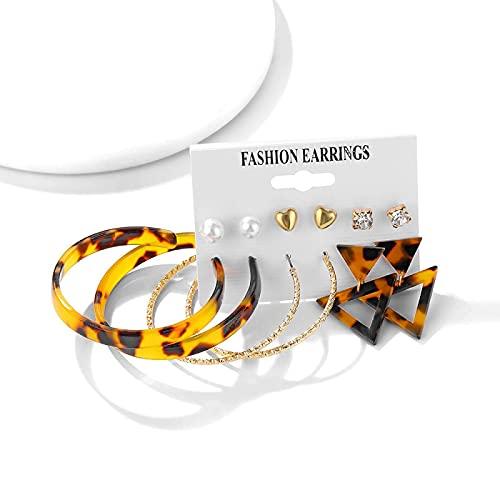 FEARRIN Pendientes Vintage con Tachuelas de Diamantes de imitación, Conjunto de Pendientes Bohemios para Mujer, Pendientes geométricos de Perlas acrílicas de Moda, joyería Femenina H70-ZL807-4