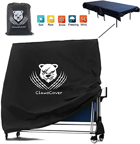 ClawsCover Table Tennis Covers Waterproof Heavy Duty Foldable Ping Pong Table Cover Outdoor/Indoor Patio Furniture Accessories