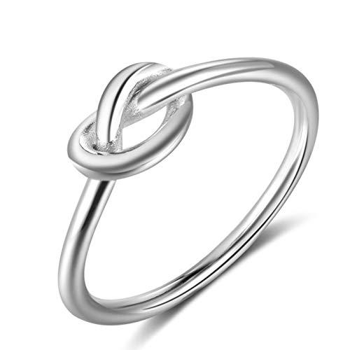DOOLY Anillos de Nudo de Plata de Ley 925 para Mujeres niñas joyería de Dedo Femenino Regalo de cumpleaños para el Mejor Amigo