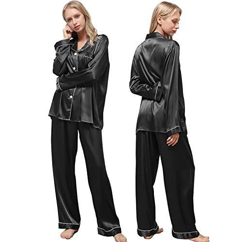 Ladieshow Pijamas Satén para Mujer, Pijamas Set Mujer Manga Larga Elegante y Moda, Largo Conjunto de Pijamas Camisón Seda para Mujer, 2 Piezas Ropa de Dormir con Botones Suave y Sedosa (Negro, XL)