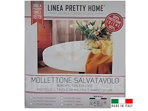 GBiancheria Mollettone COPRITAVOLO SALVATAVOLO Bianco Rettangolare Rotondo Ovale Quadrato Made in Italy (Rotondo 140)