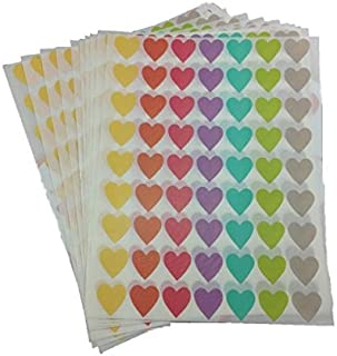 Mixed 7 Pastel Colour Heart Shaped (16 x 16 mm) Label Stickers 630 Pcs for Multipurposes DIY