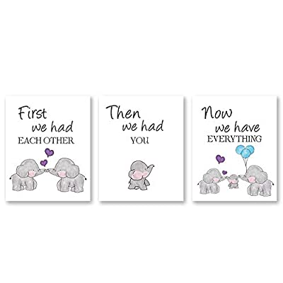 Cute Baby Elephant Watercolor Art Print, Set of 3 Balloon Elephant Family Love Quote Wall Art Poster, Living Room Bedroom Home Decor Nursery Art Canvas,Unframed 8x10 Inch