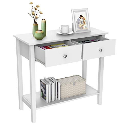 Yaheetech 2 Drawer Console Table White Solid Wooden Dressing Table Workstation Desk for Hallway Living Room Bedroom Furniture