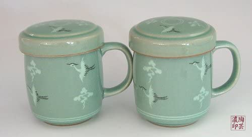 Antique Alive Tabletop 2 Celadon Jade Blue Glaze Crane Bird Clou