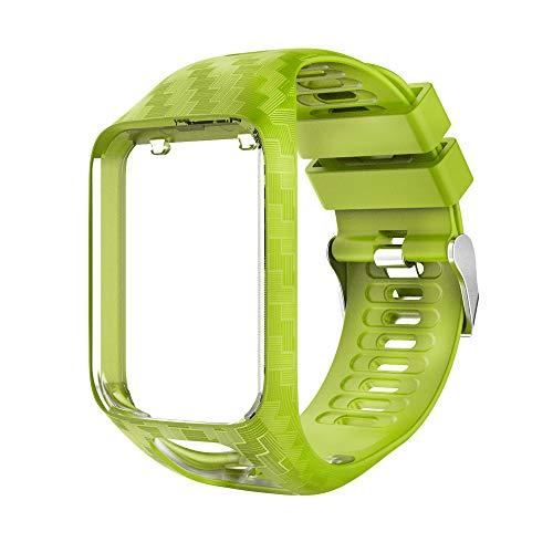 RongYooo Cinturino Compatibile per Tomtom Runner 2 3,Tomtom Spark 3,Golfer 2 Regolabile di Ricambio Bracciale(Limone Verde).