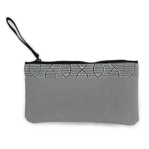 Unisex Wallet, Coin Bags, Double Helix DNA Canvas Coin Purse Cute Pouch Change Purse 4.5 X 8.5 Inch with Zipper Cash Bag Small Wallet Card Key Case for Women,Coin Purse