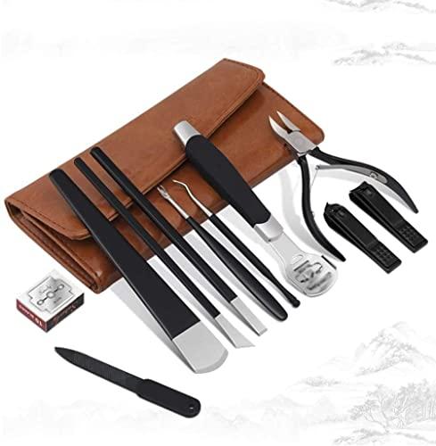 YUTRD ZCJUX 11pcs / set Juego de cortadores de uñas Cortaúñas Bolsa plegable Herramienta cortadora de acero inoxidable Herramientas de manicura para dedos Cortaúñas de manicura (Color: Negro)