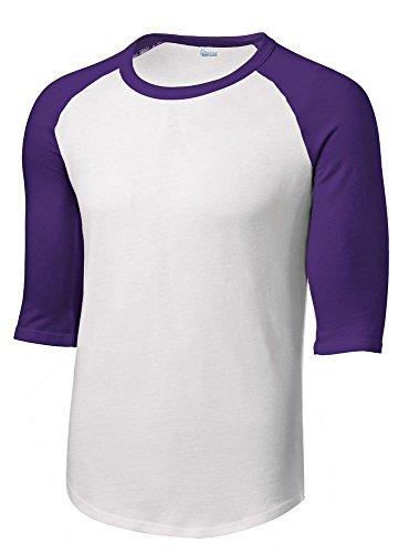 Animal Den Boys Baseball Jersey Shirt Uniform 3/4 Sleeve Youth Raglan & Girls Softball White/Purple