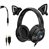 Black Gaming Headset Katzenohren mit Mikrofon, Abnehmbarer Cat Ear...