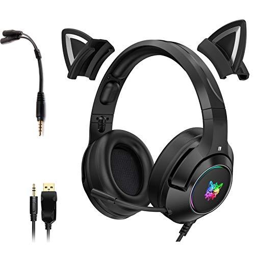 Black Gaming Headset Katzenohren mit Mikrofon, Abnehmbarer Cat Ear Kopfhörer für PS4, Xbox One, PC, Smartphone, HiFi 7.1 Stereo Noise Cancelling Headset mit 3,5 mm Adapterkabel