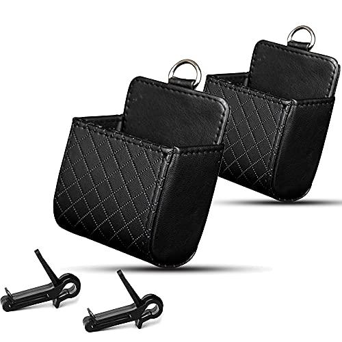 Aloces 2 bolsas de almacenamiento universales para coche, organizador con ganchos, bolsa de almacenamiento para coche, de piel sintética, multifuncional, para teléfono