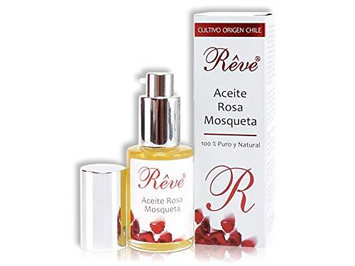 REVE Aceite Rosa Mosqueta Puro - 30 ml - Orgánico - Prensado en Frío - 100% Natural - Origen Chile - Envasado en UE - Cosmética natural sin parabenes.