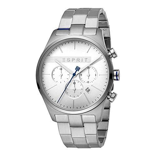 Esprit Herren Chronograph Quarz Uhr mit Edelstahl Armband ES1G053M0045