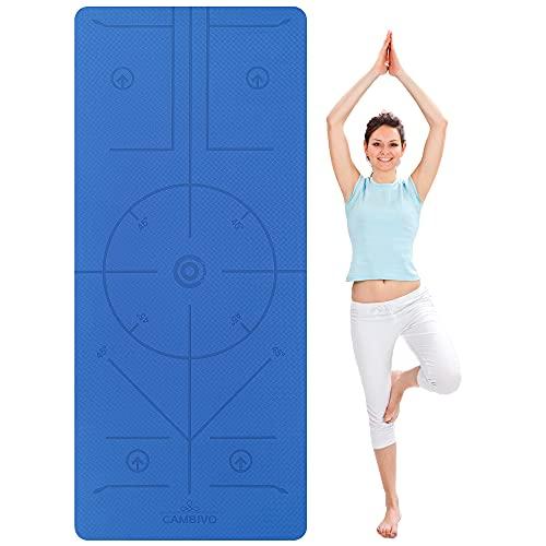 CAMBIVO Yogamatte, Gymnastikmatte extra breit(183cm x 81cm x 6mm), rutschfeste TPE Fitnessmatte Sportmatte Hilfslinien für...