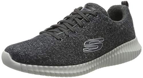 Skechers Herren Elite Flex Sneaker, (Charcoal Premium Wool/Synthetic/Metal/Trim Ccl), 43 EU
