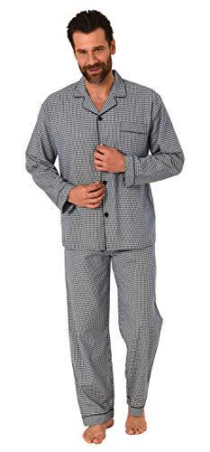 Eleganter Herren Pyjama Langarm Schlafanzug gewebt zum Knöpfen im Karo Design - 65343, Farbe:schwarz, Größe:50