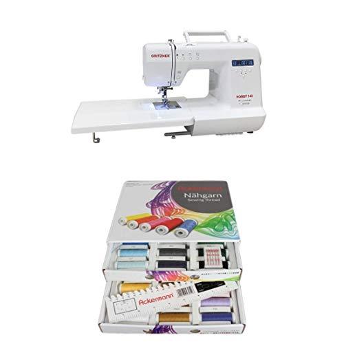 Gritzner Hobby – serie, elektronische naaimachine met vrije arm met aanschuiftafel – > met de starterset direct aan de slag. GRITZNER HOBBY 140 Ackermann naaigaren box, 36x 200m (wit)
