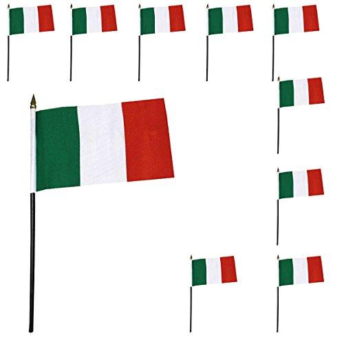 Sonia Originelli 10er Set Mini Flaggen WM Fußball 10x15 cm Party Anfeuern Fahnen Farbe Italien
