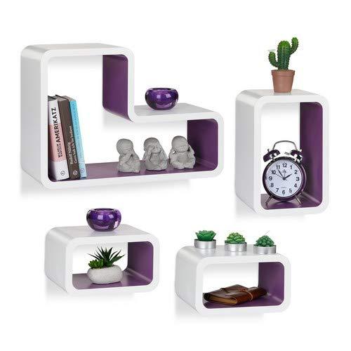 Relaxdays wandrek, set van 4, modern, hangrek, cube, voor boeken, dvd's, decoratie, L-vorm, wit-violet