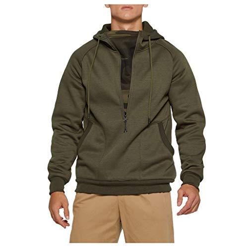 AKAIDE Herren Kapuzenpullover Herbst Winter Langarm Dicker Pullover Plus Samt Kapuzenpullover Patchwork Outwear Tops Bluse Sweatshirt Gr. Medium, Armee-grün