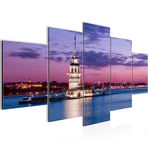 Runa Art - Bilder Istanbul Türkei 200 x 100 cm 5 Teilig XXL Wanddekoration Design Blau 604851b