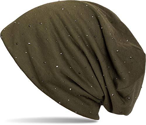 styleBREAKER Gorro Beanie clásico con Elegantes Aplicaciones de Remaches de estrás, Unisex 04024037, Color:Verde Oliva (Ropa)