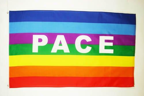 AZ FLAG Flagge Regenbogen Frieden PACE 150x90cm - Peace Fahne 90 x 150 cm - flaggen Top Qualität