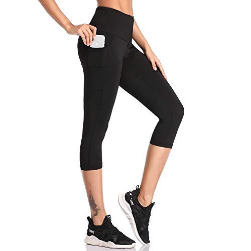SIMIYA Damen Leggings, Lang Frauen Sporthose, Stretch und Hohe Taille, 1 Pack(Schwarz 3/4 Hose,XL)