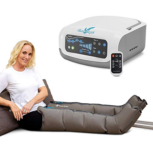 Vein Angel 4 Premium massage device with leg cuffs – UK plug version – 4 deactivatable air chambers, pressure and time easy to set, 3 massage programmes