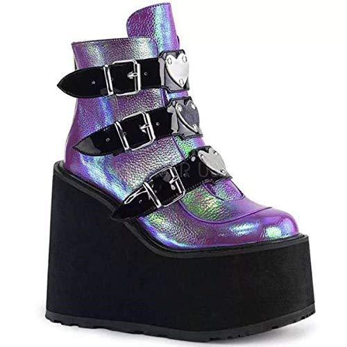 LOK 2021 Botines de Mujer Plataforma gótica Punk Invierno Martin Negro Tacones Altos Demonias Zapatos de Mujer Sexy
