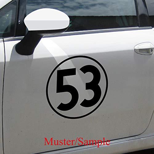 Aufkleber Tattoo 30cm schwarz Auto Tür Fenster Heck Klebe Folie Herbie Nr Startnummer 53