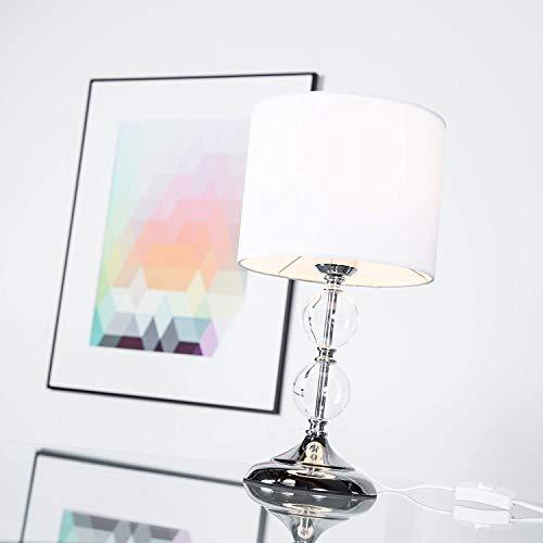 Dekorative Tischleuchte mit Textilschirm & Glaskugeln, 1x E27 max. 60W, Metall/Glas/Textil, chrom/weiß