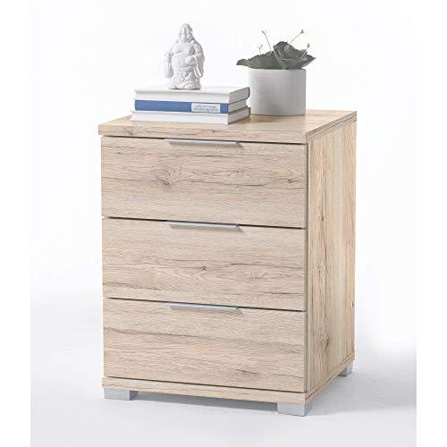 Universal Nachttisch in Eiche San Remo Hell Optik - Moderner Nachtschrank mit drei Schubladen für Ihr Boxspringbett - 46 x 61 x 42 cm (B/H/T)