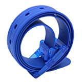 Meishine - Cinturón unisex de silicona con hebilla de plástico para hombre y mujer, 115 x 3,5 cm azul marino Talla única