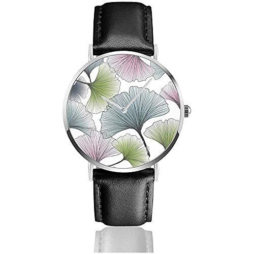 Handgezeichnete Gingko Biloba Ginkgo Natur Classic Casual Quz Uhr Edelstahl Leder Armbanduhren