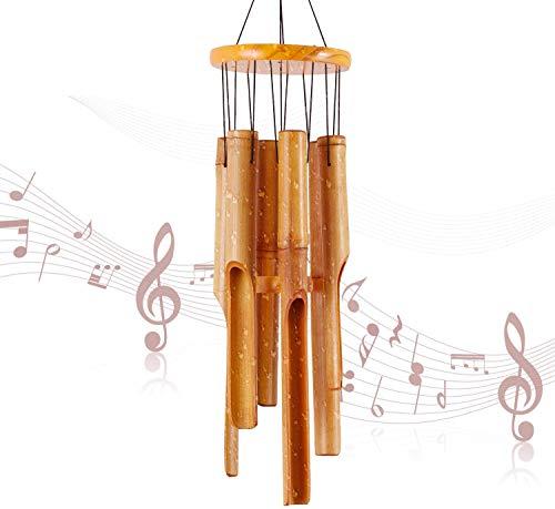 RDUTUOK - Campana de viento de bambú para decoración de jardín, patio, patio y hogar