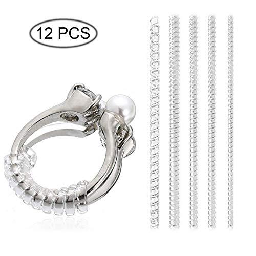 TopKi - Ajustador de tamaño de anillo para anillos sueltos, anillos directos invisibles de silicona transparente 12 PCS