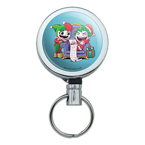 Harley Quinn and Joker Naughty List Heavy Duty Metal Retractable Reel ID Badge Key Card Tag Holder with Belt Clip