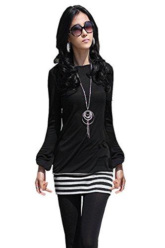 Mississhop 5-78 Damen Minikleid Kleid Tunika mit Streifen Japan Style Schwarz L