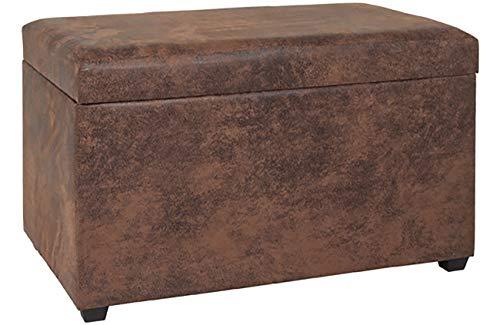 Haku Möbel Sitztruhe - MDF mit braunem Kunstleder-gepolsterte Sitzfläche H 42 cm