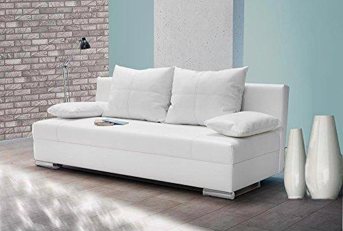 lifestyle4living Schlafsofa in Weiß   Sofa mit Bettkasten aus Kunstleder   Funktionssofa inkl. 2 Rückenkissen und 2 Armlehnkissen
