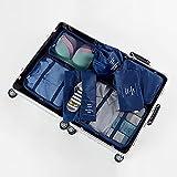 TTWLJJ Organizador Maletas Equipaje Bolsas Viaje Cubos Embalaje Almacenaje Impermeable para Ropa Zapatos Cosméticos Accesorios Portatrajes Neceser Portátil Kit De 7 Pcs,Navy Blue