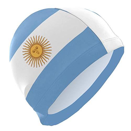 Gorro de natación Einst para mujer, pelo largo, rizado con la bandera de Argentina, para niñas, adultos, jóvenes