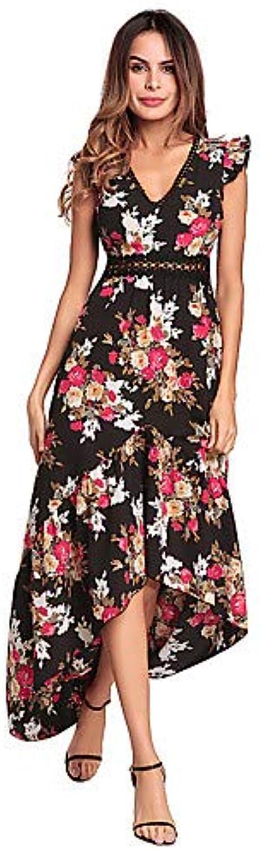 Women's Cute Butterfly Sleeve Loose Swing Dress  Floral, Backless High Waist Maxi Asymmetrical V Neck