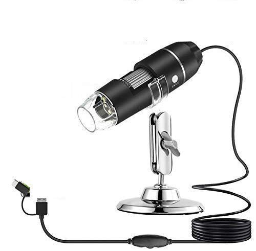 Protokart 3 in 1 Digital Microscope OTG 40X to 1000X Magnification Mini Handheld Inspection Camera with 8 LED Metal Stand, USB/Type C/Micro USB Compatible with Android Smartphone, Mac, Windows