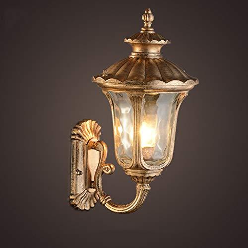 * Wandlamp van glas van aluminium, voor buiten antiek met glas in stijl naar boven, E27, 240 V, verlichting voor terras, tuin, hoogte: 38 cm.